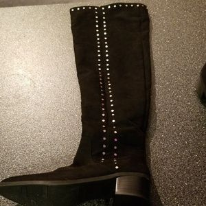 Over the knee black suede silver studded boots